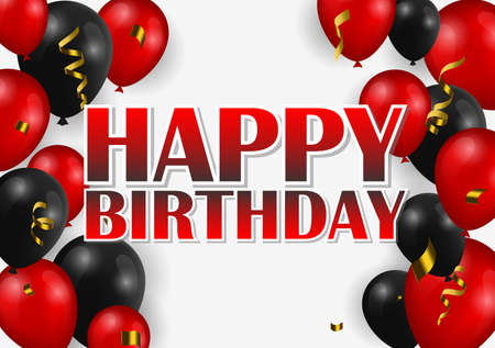 Happy Birthday greeting card with golden confetti! Holiday Banner with black and red Balloons.