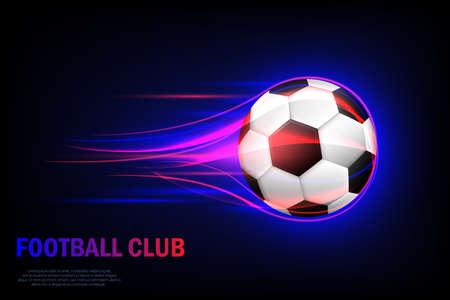 Flying soccer ball. Football club. Card for Football Club with Flying Soccer Ball