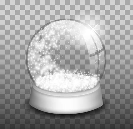 Empty snowball. Snow globe. Holiday bowl on base and snowflake inside