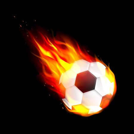 Flaming soccer football ball. Flying burning soccer or football ball. Vettoriali