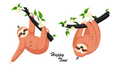 Cute cartoon sloth. Adorable sloth sleepy animal at jungle rainforest different lazy. Vector illustration EPS10