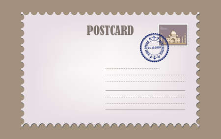 Postcard with white paper texture. Blank vintage post card template with stamp.