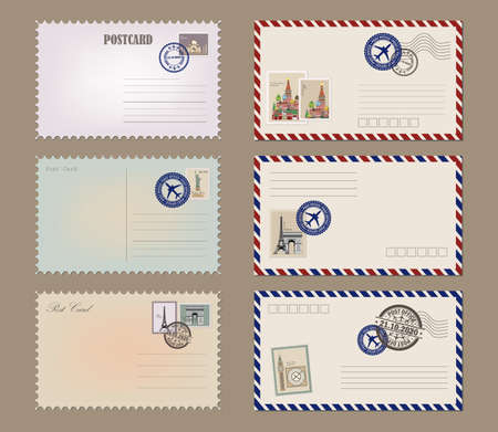 Post card and envelope set. Vintage postcard designs, envelopes and stamps. Realistic old postcard. Vector illustration EPS10 Фото со стока - 158520898