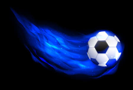 Burning soccer ball on black background. Soccer Ball in Blue Fire. Glowing fireball on the speed in flame.