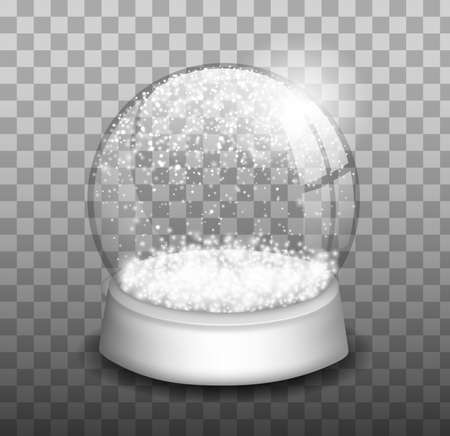 Snow globe or Christmas ball set isolated on transparent background. Snow globe. Realistic Christmas glass dome with snowflakes Фото со стока - 158541913