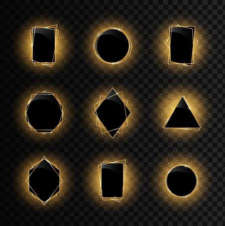 Elegant realistic geometric golden luxury frames. Sparkling golden frame light effect on transparent background. Spark with ring glossy line.