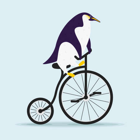 Cute cartoon penguin riding a bicycle in flat style. Print t shirt design Фото со стока - 158684016