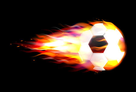 Flaming soccer ball flying against on fire flying through the air. Template for poster, banner for the match of sport tournament Vettoriali