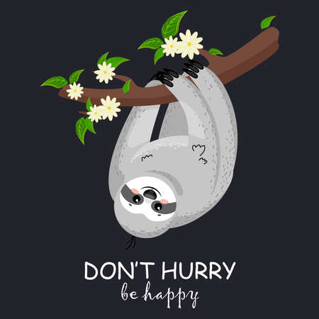 Cute cartoon sloth on a branch. Illustration for nursery design, poster, greeting, birthday card, baby shower and party