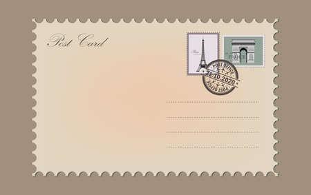 Vintage Postcard. Post office stamp. Air post stamp.
