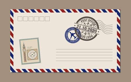 Vintage postcard designs, envelopes and stamps. Postcard bigben.