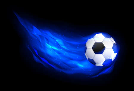 Football ball flying in blue fire, falling in flame side view.  Flaming soccer football ball