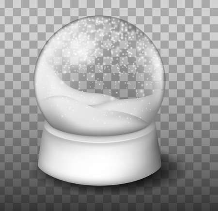Christmas Globe with snow. Snow Globe Vector. Xmas Empty Snow Globe Ball. Vettoriali