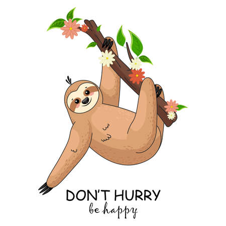Funny cartoon sloth. Adorable hand drawn baby sloth characters hanging on the tree.  Funny childish character. Vettoriali