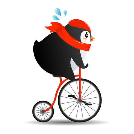 Cute cartoon Penguin on bike with a red scarf in flat style