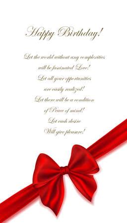Happy Birthday celebration greeting card design red rewound bow. Vector illustration