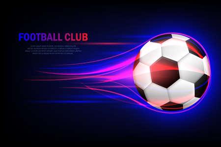 Flying soccer ball. Football club. Flaming soccer ball 3d vector