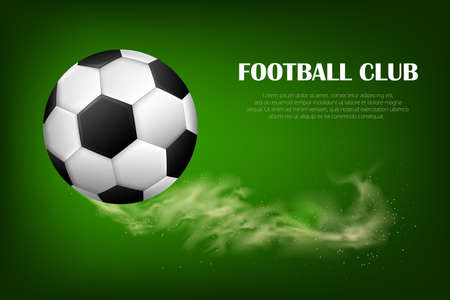 Football ball flying. Sport inventory store ad, competition, tournament promotion design element. Vettoriali