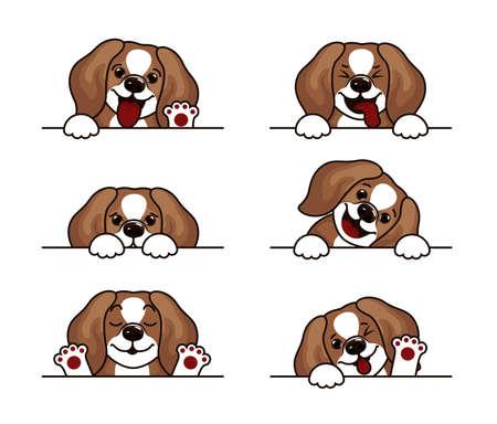 Cartoon character beagle dog in various poses set, funny animal set.
