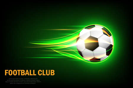 Flaming soccer ball poster for football sport game. Flying soccer ball with shine motion green blur. Фото со стока - 158941450