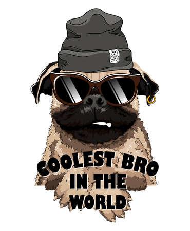 French Bulldog with black cap and  Sunglasses. Vettoriali