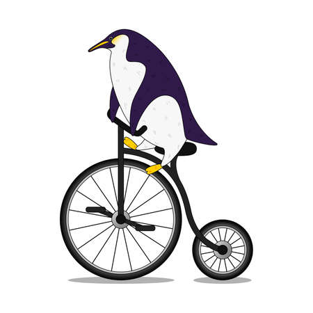 Cute cartoon penguin riding a bicycle in flat style. Print t shirt design. Vector illustration EPS10