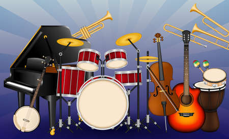 Musical instruments set. Realistic style design. Different types of musical instruments illustration