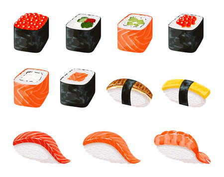 Sushi roll icons detailed photo realistic vector set. Realistic sushi set. Japanese cuisine, traditional food.