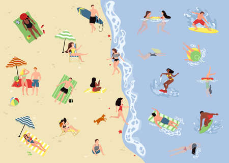 Big set of people on the beach. Active people diving, swim with dolphins and surfing. Summer ocean swimming, enjoy tropical surfers Ilustração