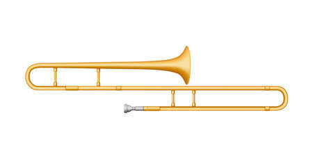 Trombone musical instrument. Vector flat illustration.Isolated on a white background.