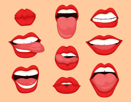 Cartoon mouth expressions set. Cute mouth expressions facial gestures lips sadness rapture disappointment fear surprise joy smile cry despondency coquetry cute mouth.