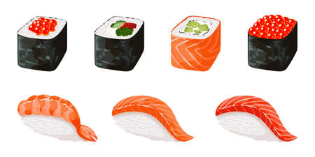 Sushi set stickers, labels, logos - asian food with fish, rice, seaweed, caviar. Restaurant food. Colorful illustration for the children.