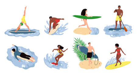 People beach activities. Cartoon characters on summer vacation, surfing swimming sunbathing outdoor scenes. Bundle of happy surfers in beachwear with surfboards isolated on white background