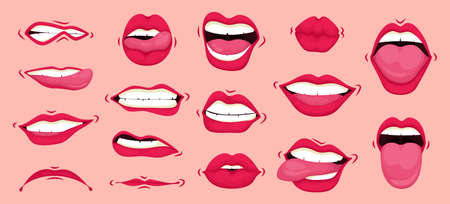 Mouth animation set. Mouths pronounce letters. Lip movement. Females mouth to express different emotional states objects