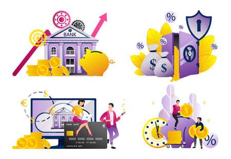 Set of modern flat design templates for Business, money cashback, digital bank transaction, mobile payments, credit card and internet shopping concepts Иллюстрация