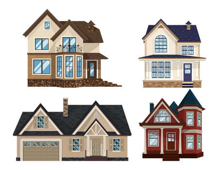 Set of Modern Flat townhouse, cottage home, front view with terrace, roof, isolated on white. Four houses pack with rural or suburban theme.