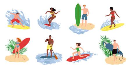 Collection of cute funny people in swimwear surfing in sea or ocean. Flat cartoon vector illustration. Иллюстрация