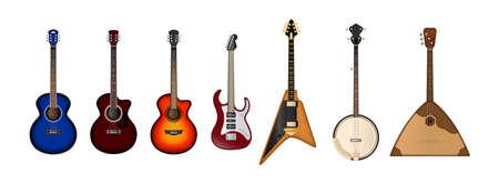 Stringed musical instruments realistic vector set. Set of different bright realistic guitars. Retro acoustic guitar, electric rock guitar. Иллюстрация
