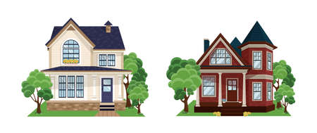 Town house cottage and assorted real estate building set. Set of different styles residential houses.