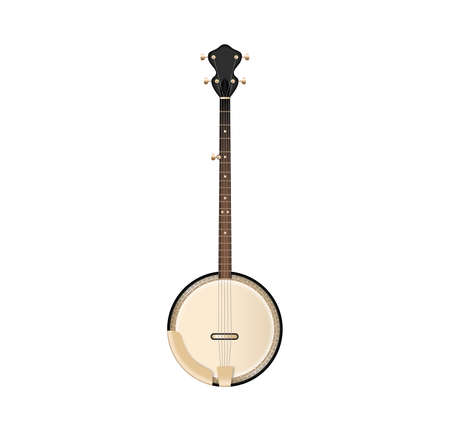 American banjo isolated retro musical instrument in realistic style. Vector illustration EPS10 Иллюстрация