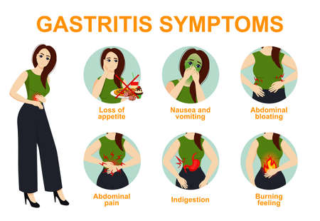 Gastritis symptoms causes treatments comprehensive infographic poster. Abdomen pain, bloating vomiting heartburn problems. Иллюстрация