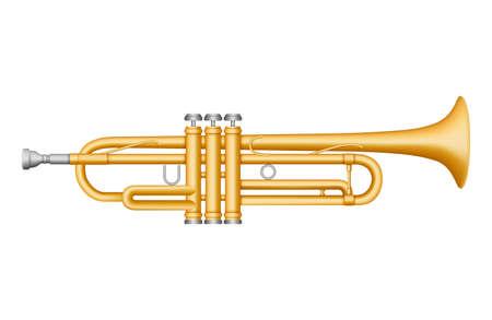 Vector Gold Trumpet. Musical instrument. 3D effect vector