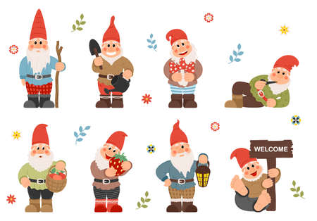 Set of cute garden gnomes. Cute fairytale characters. Bundle of lawn ornaments or decorations.