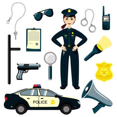 Policeman kid set. Cartoon character policeman. Set of cartoon professions. Gun, radio and police badge, child character play security or policeman job.