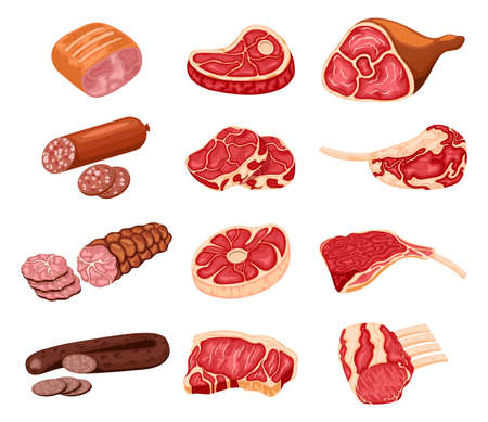 Meat products. Cartoon butchery shop food, chicken, beef steak, pork, prime rib, bacon slice and sausages. Иллюстрация