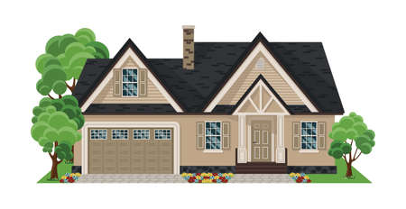 House front view. Flat Design Houses set Isolated on White Background. Home facade with doors and windows.