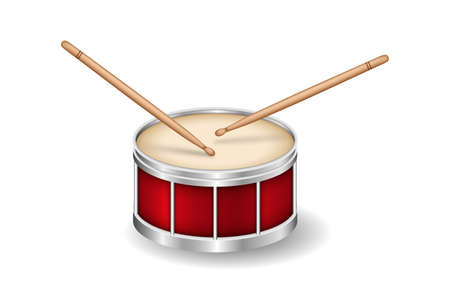 Realistic Red drum and wooden drum sticks. Musical instrument.
