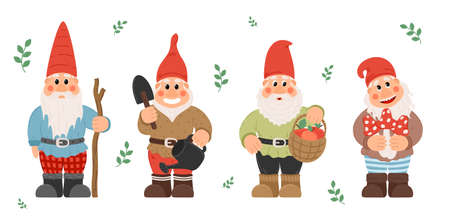 Collection of garden gnomes or dwarfs holding lantern, banner, mushroom, watering can. fairy tale gnomes with lanterns and garden tools in hats colorful cartoon vector set Иллюстрация