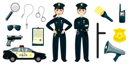 Cartoon police kids. Little boy and girl in patrol suits, police car. Set of cartoon professions.