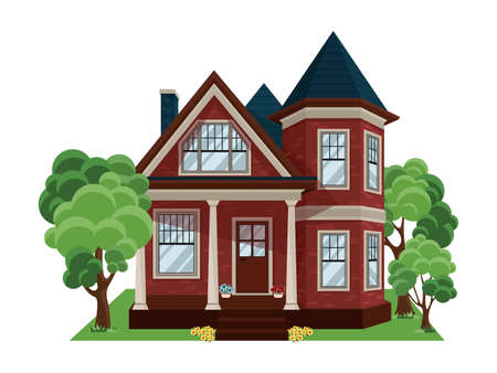 House exterior vector illustration front view with roof. Apartment house. Building, cottage, villa. Architecture concept.